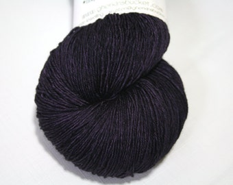 Hand Dyed Artisan Yarn, Tonal Kettle Dyed Heavy Lace Yarn, Semisolid SW Merino Yarn, Long Stride (750yds) - Dark Plum