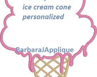J8654 Ice Cream  Quilt Label machine embroidered personalized
