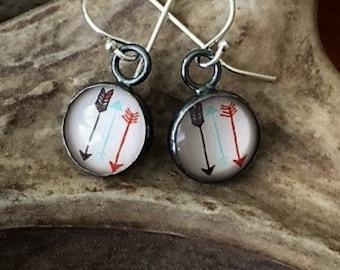 Arrows, Glass, Sterling Silver - Earrings