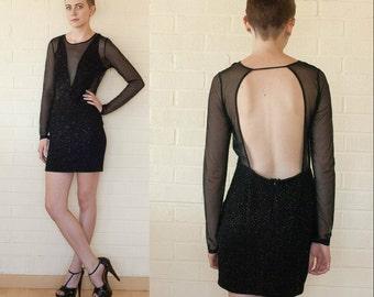 90s Black Mesh Open Back Mini Studded Evening Dress M to L