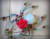 Red Rose Spider  Ornament Suncatcher