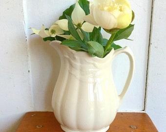 Farmhouse Chic... Antique Vintage White Ironstone Pitcher Vase Real Ironstone China Wheat Pattern