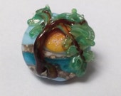 TREE of LIFE Sunrise Focal Handmade Lampwork, 1 Single Glass Bead Ln219, Inspiration, Family, Hope, Craft, jewelry, Collectable  by Lynn SRA
