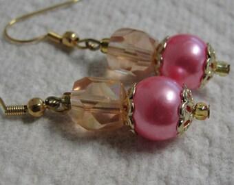 Pretty Pink Beaded Dangle Pierced Earrings