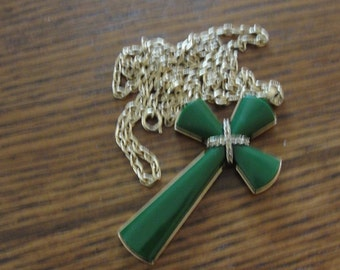 Avon Green Goldtone Cross Necklace