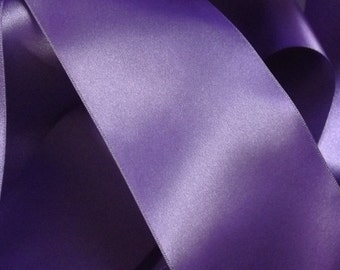 Purple Double Satin Ribbon. 70mm per metre.