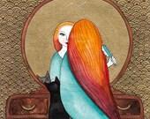 CAT Art Deco Vanity Girl and Cat Folk Art Watercolor Painting