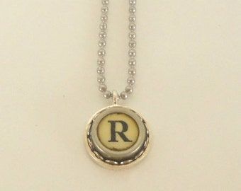 CIJ SALE Typewriter Key Necklace, Letter R , Vintage, Initial Jewelry,  All Letters Available, Typography Jewelry,