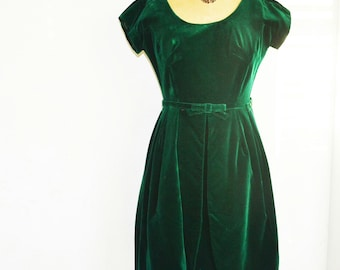 50s green velvet dress-Union Label-vintage velvet  evening dress