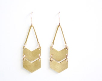 Geometric Double Chevron Earrings - Gold or Silver