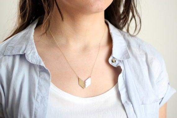 Minimalist Chevron Book Necklace - Gold or Silver