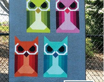 SALE 20% off quilt pattern, Baby Quilt, Animal Quilt, Woodland Animals, Allie Owl Quilt Pattern by Elizabeth Hartman, Owl Quilt
