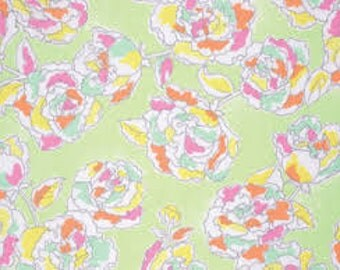 Sale fabric, End of the Year Sale, Cotton fabric by the yard, Floral fabric, Palermo Main in Lime by Erin McMorris- Choose your cut