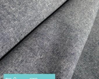 Essex Linen, Essex Yarn Dyed, Apparel Fabric, Blue fabric, Cotton fabric, Linen Blend fabric, Linen fabric, Robert Kaufman, Essex in Indigo