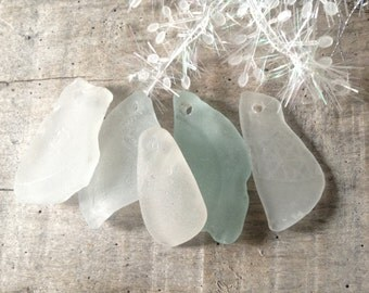 SUPPLIES...5 rare embossed genuine sea glass pieces, drilled beads, jewelry supplies,weddings,gift ideas