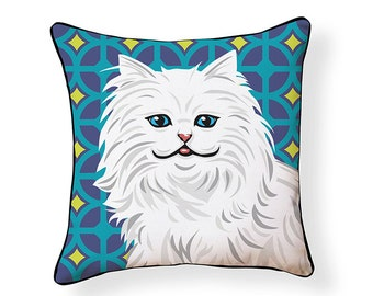 White Persian Cat Pillow