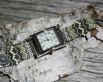 Father Time White Pearl Face - Free Form Peyote Stitch Beaded Watch Bracelet - Jewelry