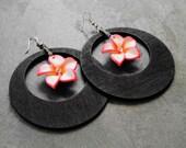 Flower Earrings, Wood Hoop Earrings, Big Wood Earrings, Big Hoop Earrings, Floral Earrings, Hawaiian Garden Flower Wood Hoop Earrings