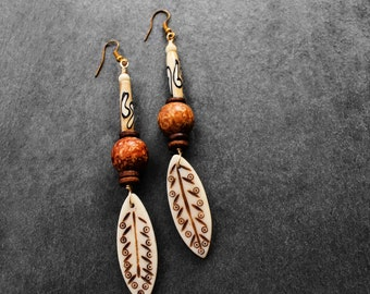Tribal Earrings, African Earrings, Afrocentric Earrings, Long Earrings, Dangle Earrings, Bone Earrings, Baka Soul Tribal Bone Earrings