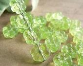 Lime Green Czech Glass Daisy Flower Beads Peridot Transparent 6 Petal 8mm (25)