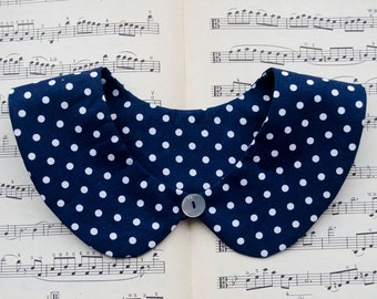 Detachable Peter Pan collar, navy blue with white polka dots, butterfly collar