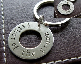 Personalized Washer Keychain - Custom Hand Stamped Sterling Silver Key Chain - Double-Side Stamping - Perfect for Father of the Groom Gift