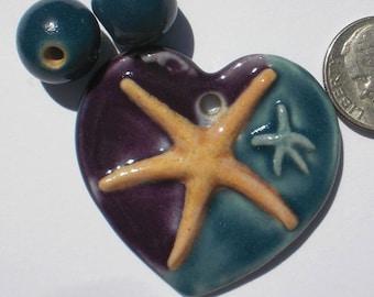 Deep Purple and Teal Porcelain Starfish Heart Pendant and Bead Set