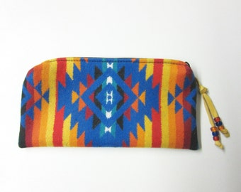 Large Zippered Pouch Accessory Organizer Cosmetic Make Up Bag Pencil Case Southwest Wool from Pendleton Oregon