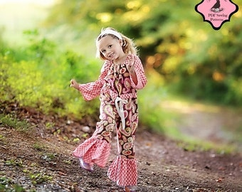 SALE Whimsy Couture Sewing Pattern PDF --Peasant Romper-- newborn - 8 girls w. ruffles/more options Instant