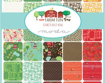"SQ86 Moda FARM FUN Precut 5"" Charm Pack Fabric Quilting Cotton Squares 20530PP"