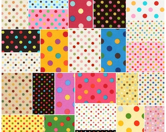 "Lecien Japanese COLOR BASICS MULTI Precut 5"" Charm Pack Fabric Quilting Cotton Squares Polka Dots"