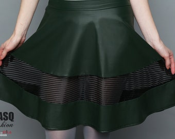 Dark green skirt, Dieselpunk skirt, goth skirt, matte vegan leather sheer circle skirt, green skirt, black skirt, bladerunner skirt