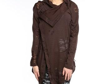 Brown cardigan, Brown steampunk torn cardigan, brown cowl cardigan, asymmetrical cardigan, textured lycra cardigan, steampunk cowl jumper