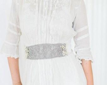 "Flowers & Pearl Bridal Sash | Edwardian Inspired Handmade Lace Wedding Belt  | Antique Silver  | ""Camille"""