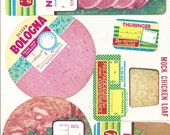 6 Old c.1950's DELI / Grocery Store - Luncheon MEAT - Price Sign LABELS