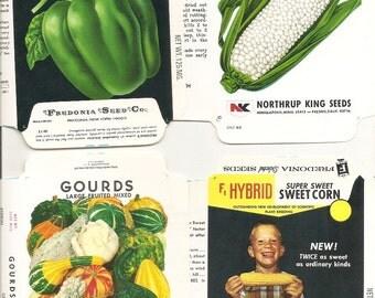 24 Vintage FLOWER / VEGETABLE Unfolded Vegetable Seed Packs