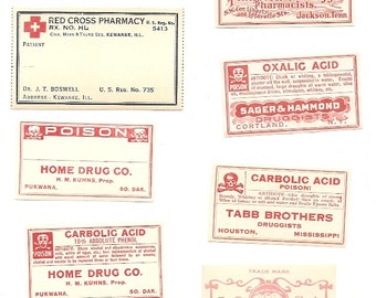 49 1930s plus Drugstore,Pharmacy ,Poison and Medicine Labels etc