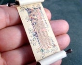 Miniature Scroll Medieval Gold Illuminated Scroll with Dark Wood Handles and Crystal Ends