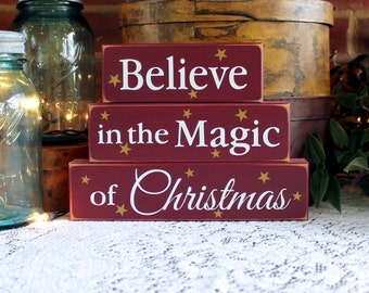 Believe in the Magic of Christmas Shelf Sitter Blocks Decoration for Holiday Signs Wood Stacking Blocks