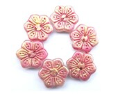 6 Vintage buttons flower shape hand painted in pink and gold CRYSTAL czech 18mm, for button jewelry