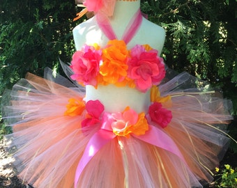 Baby Girl Luau Outfit - Luau Tutu  - Pink Luau Skirt -  Hawaiian Luau Tutu Set - Birthday, Luau Party,  or Photo Prop