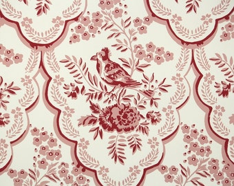 1950's Vintage Wallpaper - Red and White Floral Wallpaper with Bird