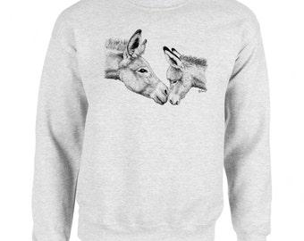 Burro Mom and Baby - Donkey Mule Art Men's Sweatshirt Small - 2XL