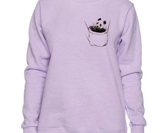 Panda In Pocket Art LADIES Sweatshirt Small - 2XL