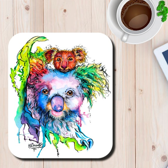 Koala Mom and Baby Watercolor Art Print Mouse Pad