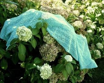 Turquoise Machine Knit Rectangular Lace Shawl Wrap Scarf