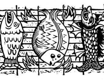 Fish On A Grill - original linoleum block print