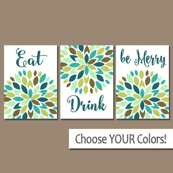 KITCHEN Wall Art Eat Drink Be Merry CANVAS Or Prints Flower