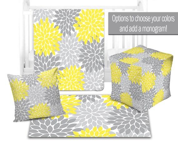 Baby Nursery Decor Flower Burst Yellow Gray Blanketottoman