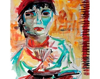Italian Lady after Vincent Van Gogh Abstract Ink and Watercolor Interpretation